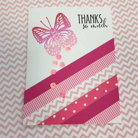 Pink Handmade Cards - handmade thank you card pink and white stripes of
