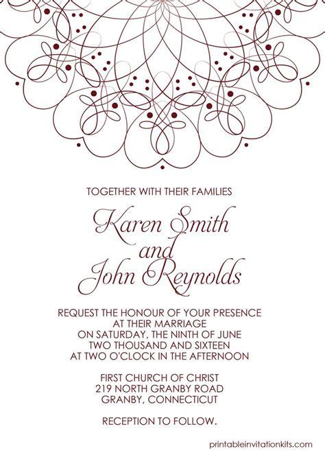 Spiral Border Invitation Free Pdf Template For Weddings Wedding Invitation Template