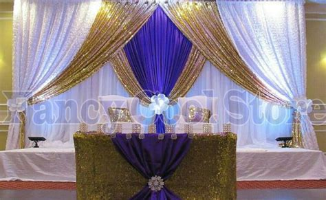 2018 lastest Gold White with Royal Blue Wedding Stage