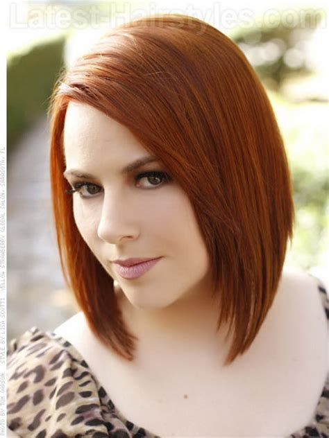 hairstyles red hair round face medium a line haircut