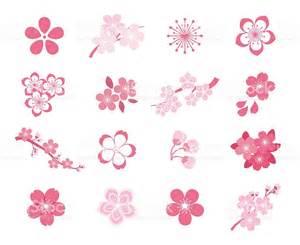cherry blossom japanese sakura vector icon set stock