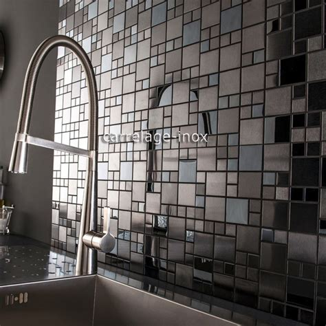 tile mosaic stainless steel splashback black plate kitchen