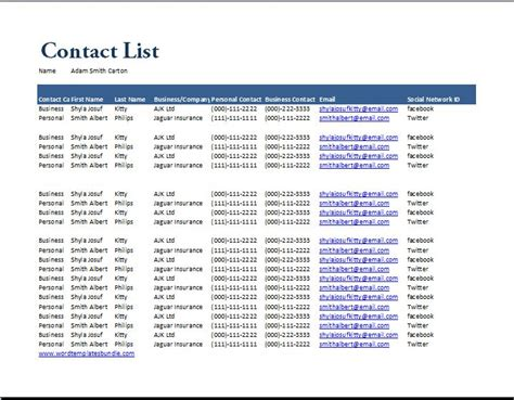 contact list template excel contact list template selimtd