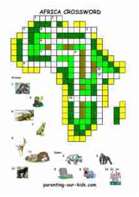 printable africa puzzle africa printable crosswords trials ireland