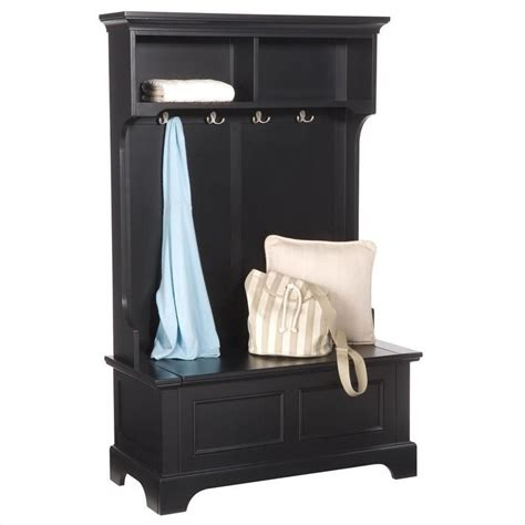 hallway bench with hooks home styles bedford hall tree in black finish