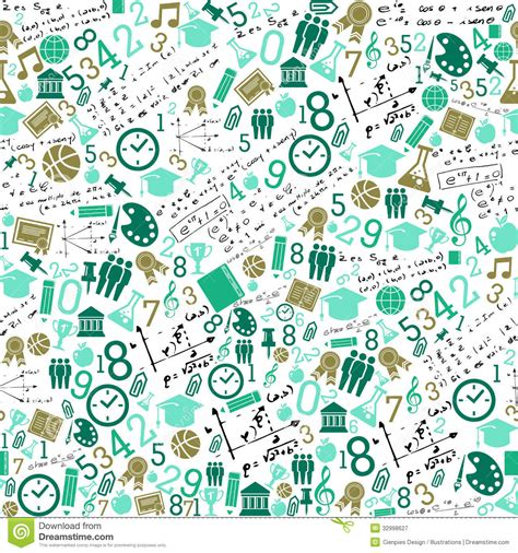 pattern paper school education icons back to school seamless pattern stock