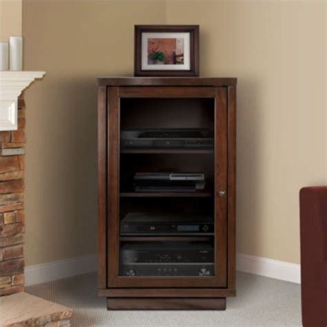 Corner Audio Cabinet by Bello Audio Component Cabinet In Espresso Atc402
