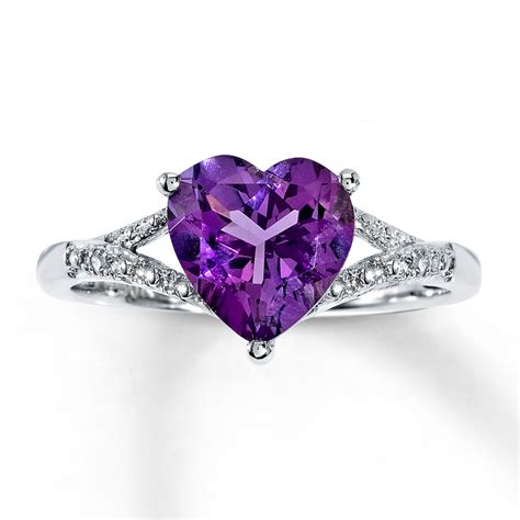 amethyst ring with accents 10k white gold