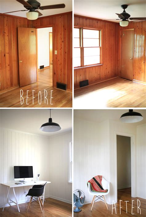 painted wood paneling before and after the wood panelling room before and in progess all