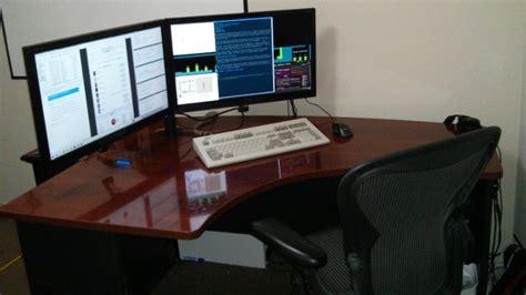dual monitor corner triple monitor stand for corner desk desk design ideas