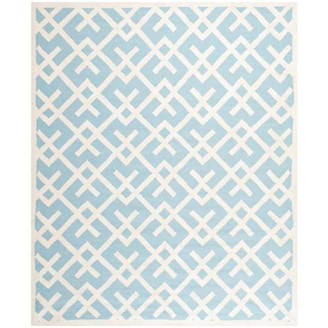 blue square rug safavieh dhurries light blue ivory 8 ft x 8 ft square area rug dhu552b 8sq the home depot