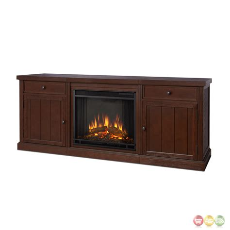 Entertainment Center With Electric Fireplace Cassidy Entertainment Center Electric Fireplace In Chestnut Oak 69x28