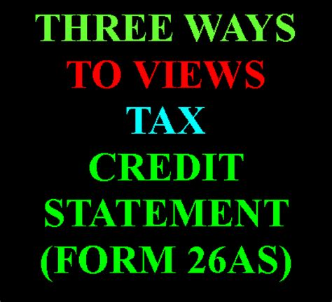 Tax Credit In Form 26as Tax By Manish How To View Form 26as