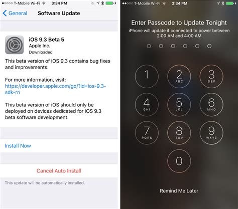 automatically installing ios software updates