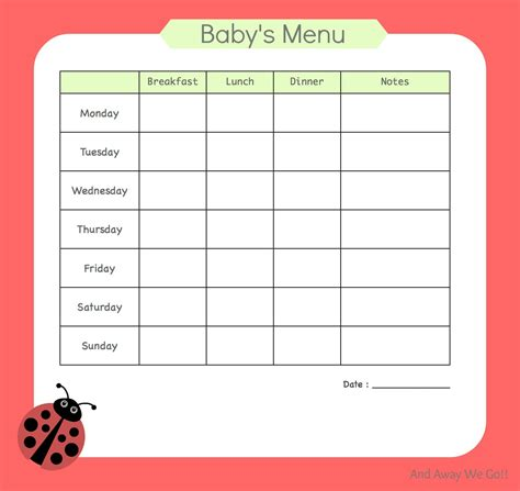 printable meal planner for baby and away we go menu planning for baby