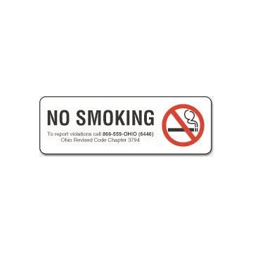 printable no smoking sign ohio no smoking interior sign ohio 9 x 3 hd supply