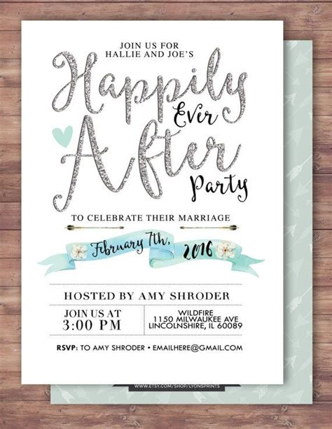 wedding reception invitation after marriage happily after invitation boho wedding shower
