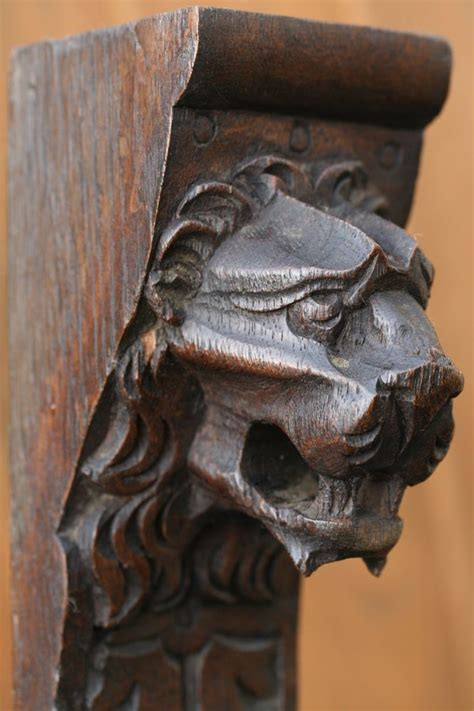 superb thc gothic wooden oak lion head corbel