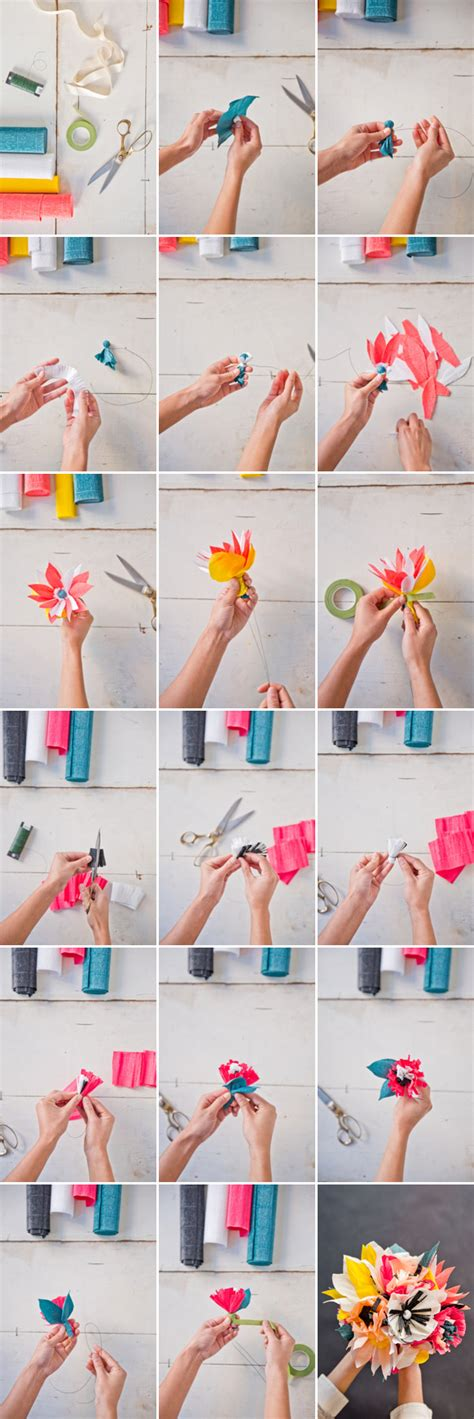 How To Make Flowers Out Of Wrapping Paper - paper flower bouquet diy