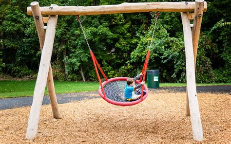basket swings wood basket swing natural playground earthscape play