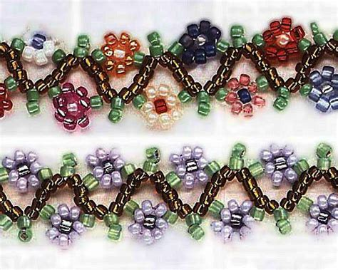 beaded flower bracelet patterns chain seed and daisies on