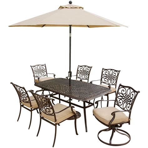 Hanover Traditions 7 Piece Outdoor Patio Dining Set And 2 7 Patio Dining Set With Swivel Chairs