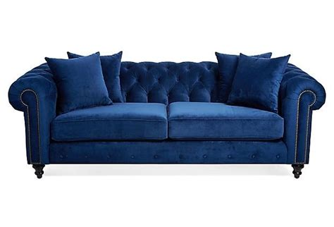 Hand Crafted Blue Velvet Chesterfield Sofa By Heaven Blue Velvet Chesterfield Sofa