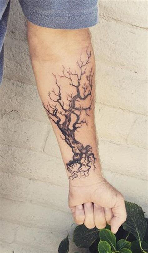 dead tree tattoo designs mens ideas dead oak tree forearm at mybodiart