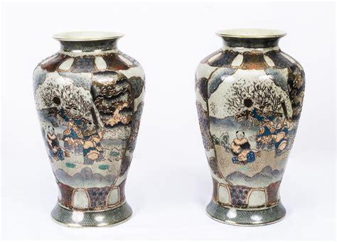 Japanese Porcelain Vases by Pair Japanese Satsuma Painted Porcelain Vases