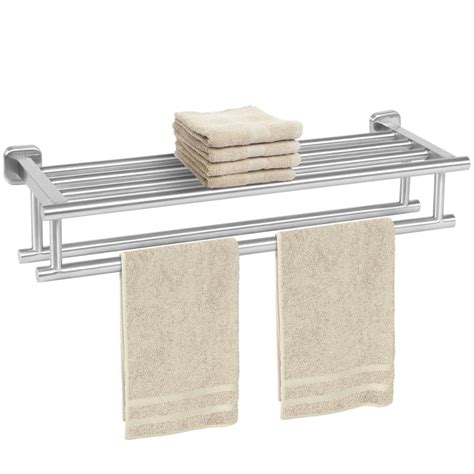 Stainless Steel Double Towel Rack Wall Mount Bathroom Bathroom Towel Racks Shelves