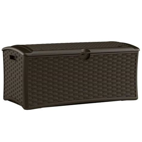 patio box home depot suncast 72 gallon resin wicker deck box dbw7000 the home depot