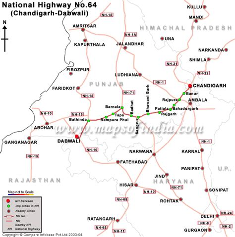 road map direction driving national highway 64 chandigarh to dabwali road map