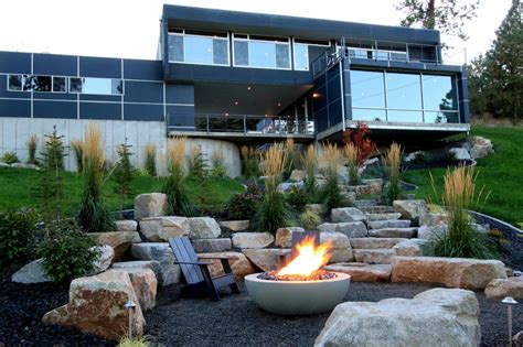 modern firepit photos alderwood landscaping hgtv