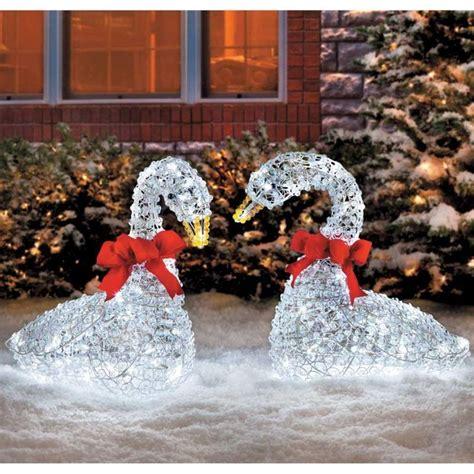 sleek christmas outdoor crystal swan led lights yard art