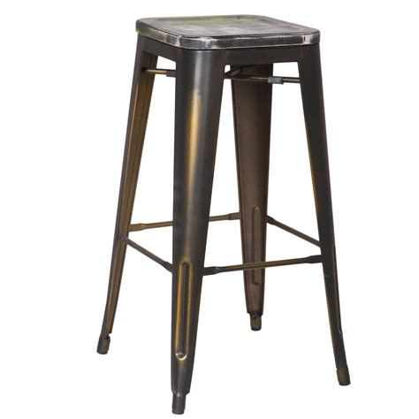 Distressed Bar Stools by Joveco 30 Inches Distressed Metal Bar Stool With Wooden