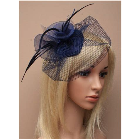 navy feather net clip hat fascinator wedding ladies day