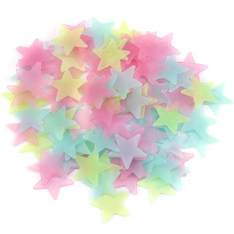 d patches on walls in bedroom 100pcs diy colorful luminous star patch wall stickers fluorescent glow in the dark