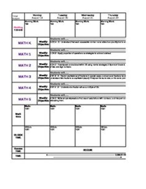 lesson plan template with drop down menu common core monthly lesson plan template common core