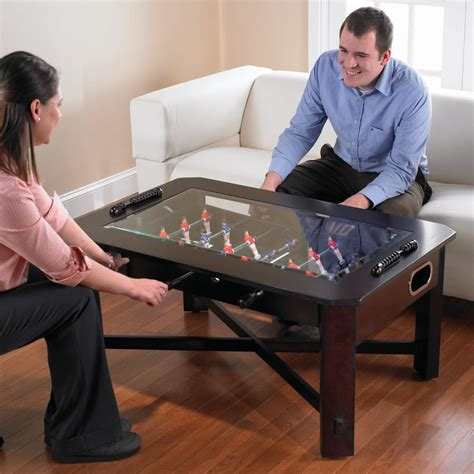 the foosball coffee table hammacher schlemmer