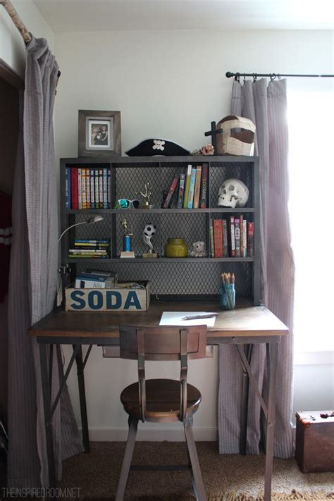 desks for teenage bedrooms teen boy s small bedroom an update industrial desk