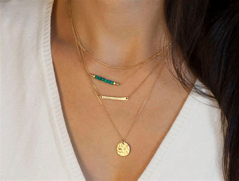 layering necklaces set choose silver or gold by