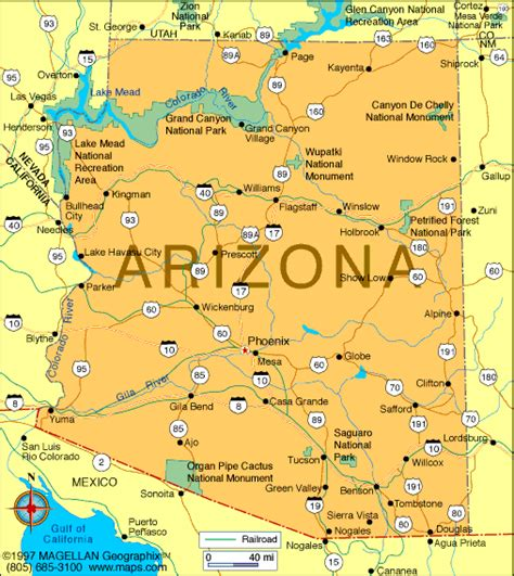 map of and arizona arizona map us