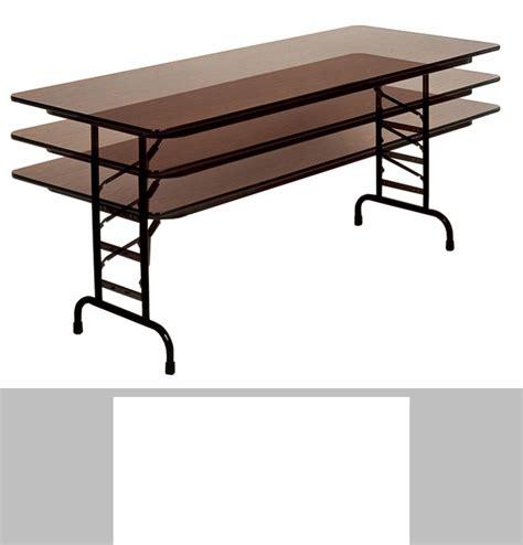 Counter Height Folding Table Counter Height Rectangular Melamine Top Folding Work Table 72 D X 30 W Cfs3072m Crl