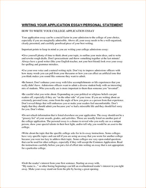 College Application Essay Vs Personal Statement 7 Exles Of Personal Essays For College Applications Budget Template Letter