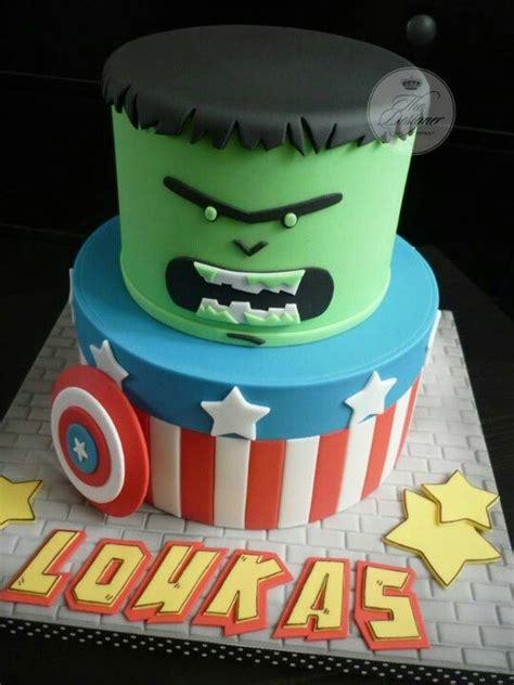 Ee  Boys Ee   Cake Marvel Hulk Captain America Disney Cakes