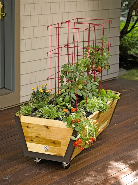 rolling planter box  garden bed  wheels gardenerscom