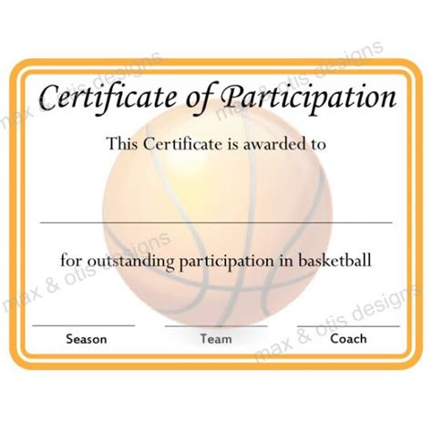 basketball c certificate template basketball certificate of participation now fillable pdf
