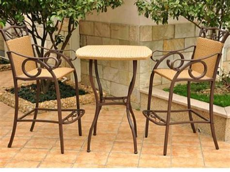 valencia three outdoor wicker bar height bistro set