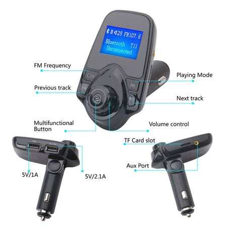 New T12 Multifunction Bluetooth Car Charger Radio Transmitter Stereo fm transmitter t11 new version wireless in car bluetooth receiver adapter stereo ebay