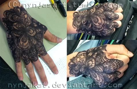 hand tattoo glove cover lace glove by nynjakat on deviantart